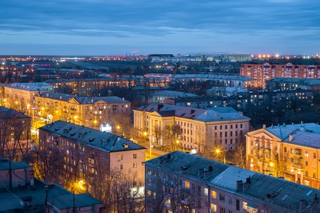 Evening Voronezh skyline from rooftop. Voronezh Aviation Technical School named after V. P. Chkalov