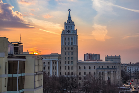 Evening Voronezh. Tower of management of south-east railway with the star in the style of Stalins empire