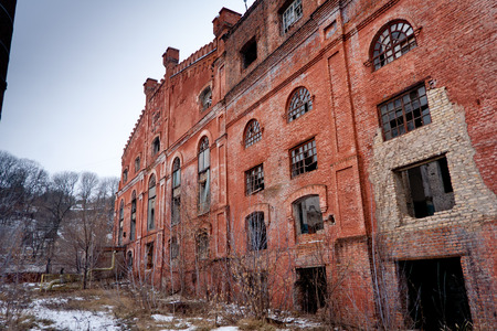 Fábrica de azúcar abandonada de ladrillo rojo en Ramón
