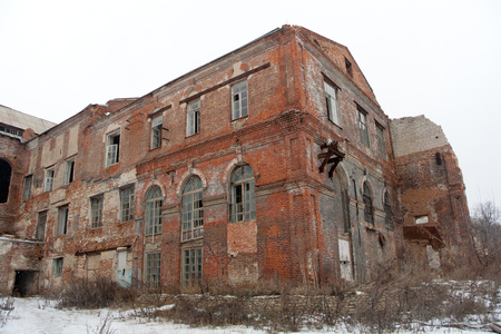 Abandoned sugar factory of red brick in Ramon