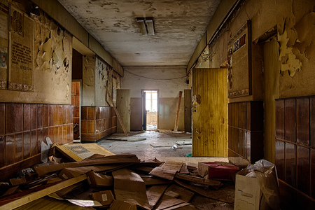 grime: Old creepy corridor in abandoned Soviet hospital Stock Photo