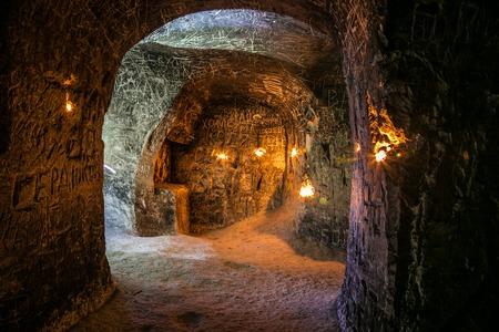 Abandoned chalky underground cave monastery, underground church in Kalach, Voronezh region Archivio Fotografico