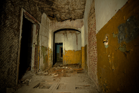 Inside of old creepy abandoned mansion. Former manor of Karl von Meck, Tula region Stock Photo