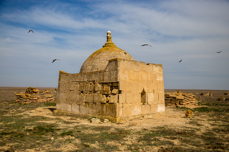 dome of the rock: Abandoned ancient Muslim necropolis in the Kazakhstan desert, city of the dead