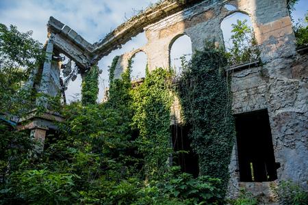 Overgrown ruins of abandoned mansion, Abkhazia Stock Photo