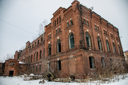Abandoned industrial building of red brick. Ryazhsky canning factory, Ryazan region Stock Photo