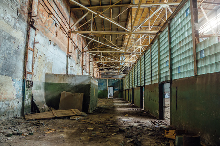 stalker: Abandoned ruins of Voronezh factory of radio components, corridor with glass block wall