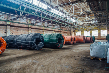 conduit: Warehouse of twisted rubber tubing of industrial hoses