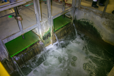 insolación: Inside modern wastewater treatment plant. Water purification by ultraviolet