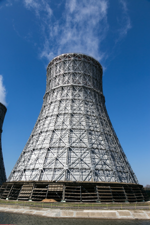 npp: Cooling tower of Nuclear power plant in Novovoronezh Stock Photo