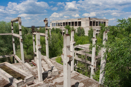 warehouse building: Abandoned overgrown ruins of unfinished sugar factory, Voronezh Region, Russia