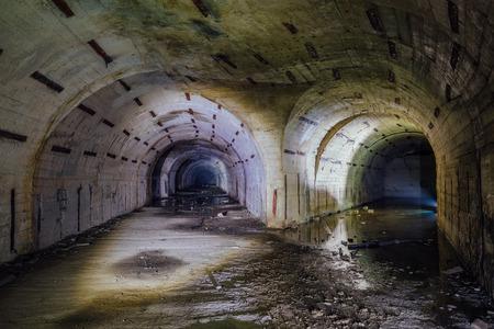Tunnel fork at the Object 221, abandoned soviet bunker, reserve command post of Black Sea Fleet, Sevastopol
