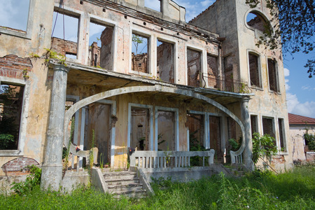 Old beautifull abandoned mansion of colonel Averkiev overgrown by plants and trees. Sukhum, Abkhazia