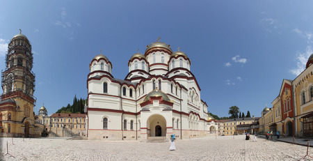 Cathedral of St. Panteleimon the Great Martyr in the New Athos Monastery of St. Simon the Zealot Stock Photo