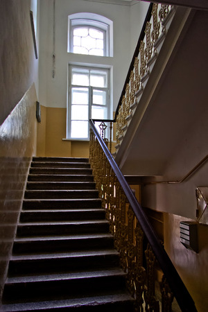 Delicieux Dark Vintage Staircase Interior In Old Building, Stair With Forged Railing,  Big Window With