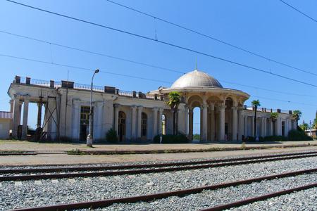 colonnade: Abandoned railway station in New Athos, Abkhazia, Georgia