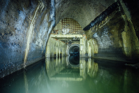 Flooded by wastewater sewage collector. Sewer tunnel under city Voronezh Stok Fotoğraf