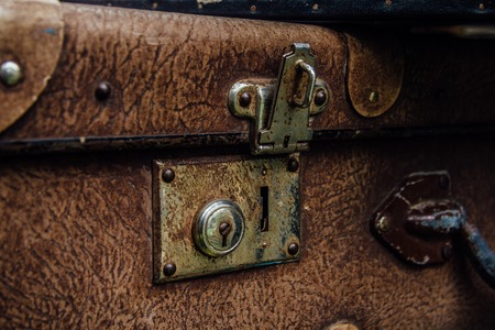 rusty background: Old rusty vintage suitcase lock