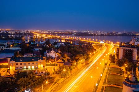 Night summer Voronezh. View to the road to Chernavsky Bridge Reklamní fotografie