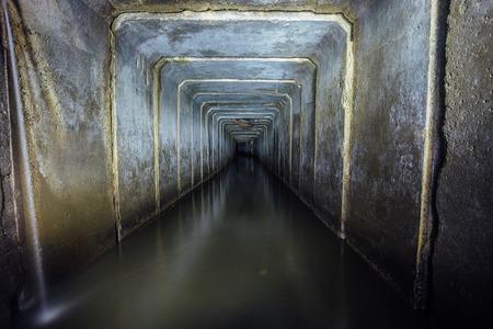 Underground river called Blue Danube  flowing in sewer tunnel under Voronezh