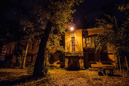 Autumn night courtyard at Voronezh