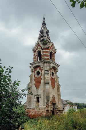Abandoned beautiful ruined water tower in Gothic style, Balovnevo, Lipetsk region, Russia