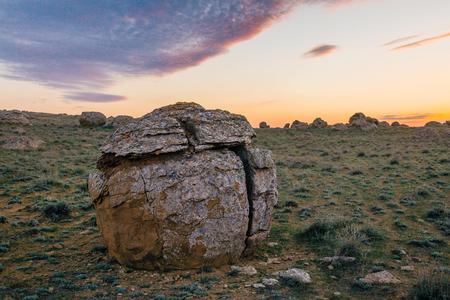 Round sandstone formation in the desert in western Kazakhstan