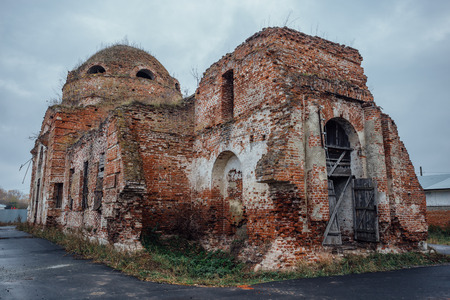 Ruined abandoned Church of the Intercession of the Blessed Virgin Mary in Lipovka, Voronezh region