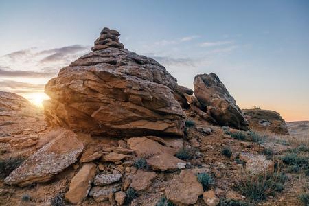 Beautiful round sandstones in rocky desert in western Kazakhstan. Stock Photo