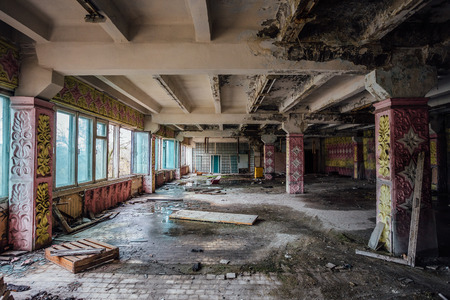 Ruined canteen for workers in abandoned Voronezh excavator plant.