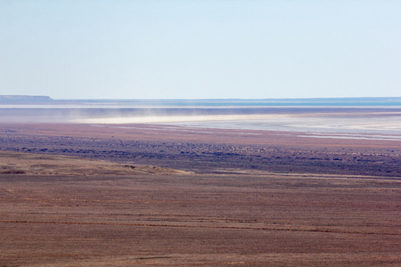 Consequences of Aral sea ecological catastrophe. Salt storm in sandy salt desert on the place of former bottom of drying Aral sea.