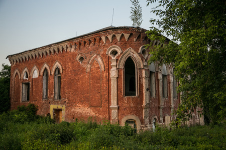 Old Abandoned mansion of Postnikov in gothic style. Sasovo, Ryazan region, Russia