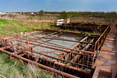 Old abandoned small sewage water treatment plant.