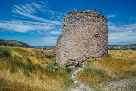 The ruins of ancient fortress Calamita in Inkerman, Crimea. Stock Photo
