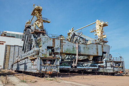 Abandoned transport and installation unit Grasshopper for spaceship Buran and Energy launch vehicle at cosmodrome Baikonur.