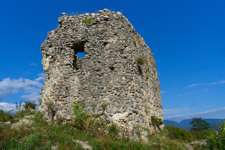 Ruins of an ancient Circassian fortress of the 6th century. Abkhazia, Georgia.