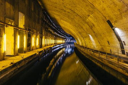 Underground Soviet Cold War naval  Bunker. Underground submarine repairing factory in Balaklava, Crimea Foto de archivo