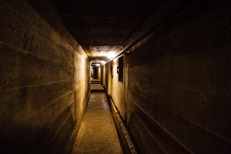 Dark corridor of old underground Soviet military bunker under artillery fortification., Sevastopol, Crimea.