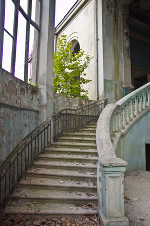 Merveilleux Old Vintage Marble Spiral Staircase At Abandoned Overgrown Mansion. Stock  Photo   93364437