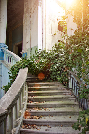 Old Vintage Marble Spiral Staircase At Abandoned Overgrown Mansion. Stock  Photo   93319412