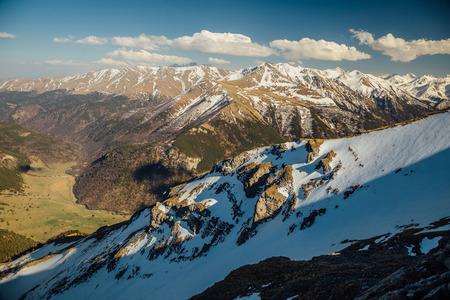 Mountains landscape. Caucasian mountain ridge with snow caps, Arkhyz, Russia. Stock Photo