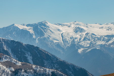 Mountain snowy peaks, Arkhyz, Caucasian mountains, Russia.