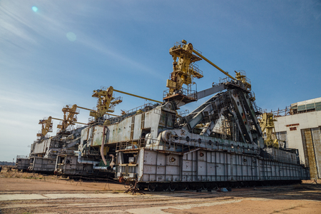 """Abandoned transport and installation unit """"Grasshopper"""" for spaceship Buran and Energy launch vehicle at cosmodrome Baikonur."""