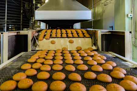 Confectionery factory. Production line of baking cookies.
