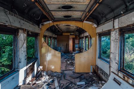 Interior of old abandoned broken railway wagon.