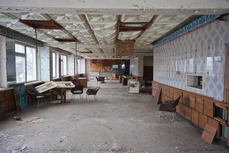Ruined canteen for workers in abandoned factory. Archivio Fotografico