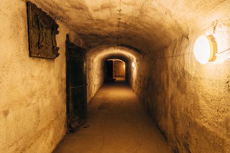 Dark corridor of old underground Soviet military bunker under fortification., Sevastopol, Crimea.