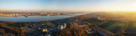 Aerial panoramic view of Voronezh in autumn evening from height of drone flight.