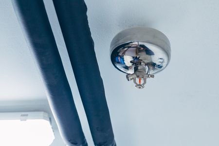 Fire sprinkler nozzle on ceiling. Automatic fast response fire protection system