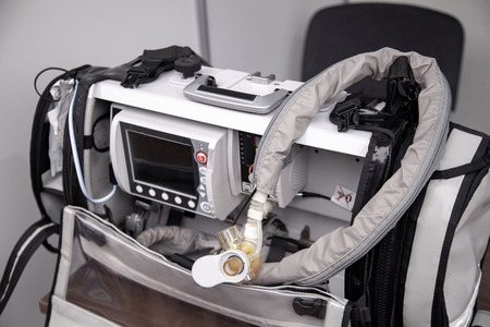 Portable emergency ventilation, oxygen therapy, patient monitoring system with defibrillator.
